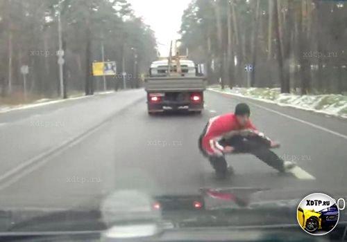 Прыгнул под колёса. Рублево-Успенское шоссе